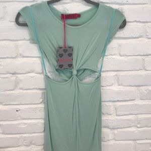Boohoo seafoam green cutout dress
